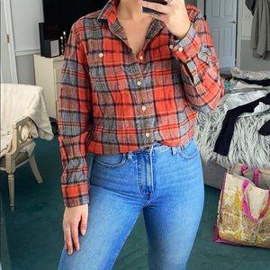 Lucky Brand Orange & Navy Long Sleeve Flannel